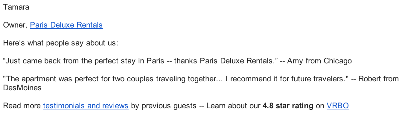 vacation rental email signature