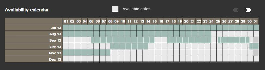 Website Sample Availability calendar