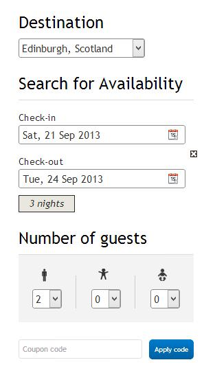 Website Sample search availability