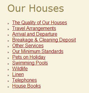 Vacation Rental Website Sample of House Info page