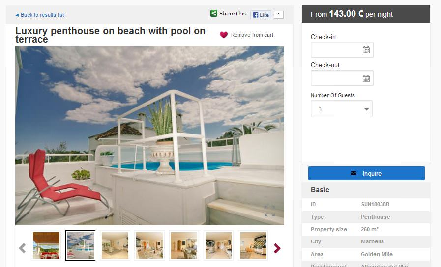 vacation rental website sample marbella res