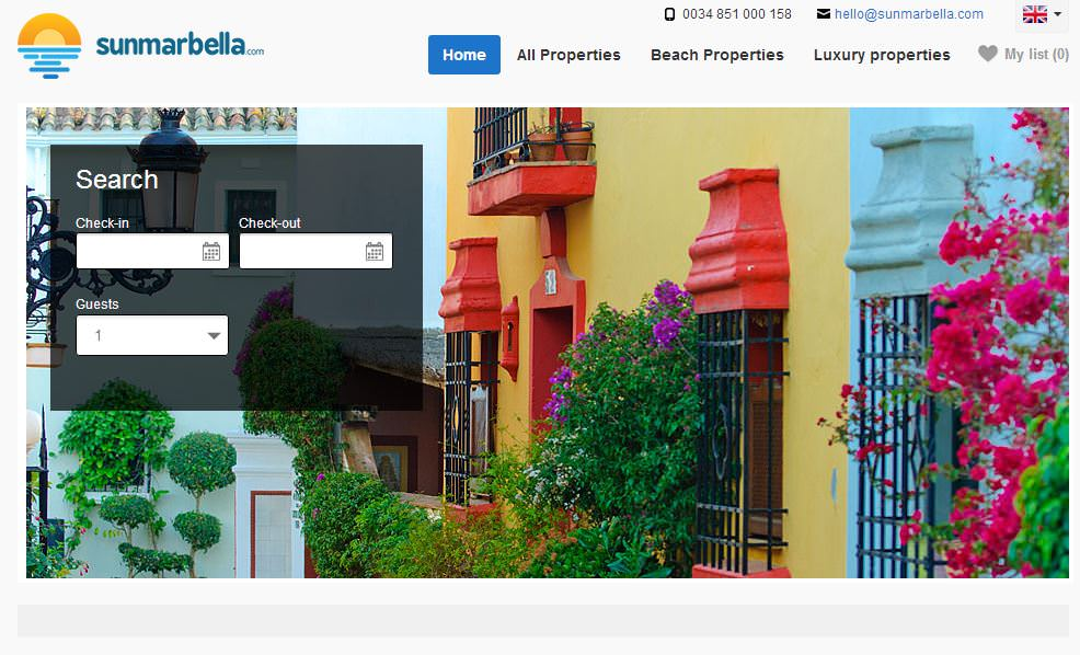 vacation rental website sample sun marbella