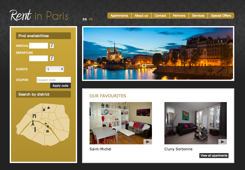 Vacation Rental Sample Rent in Paris